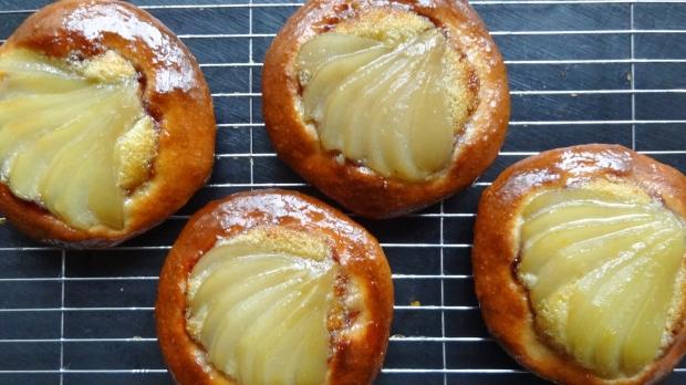 spiced poached pear frangipane brioche tart