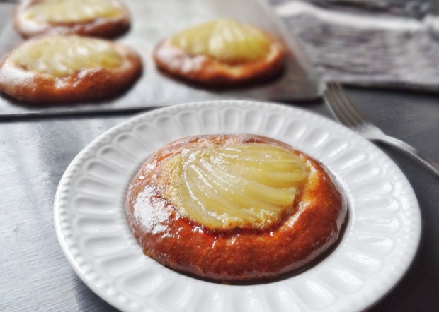 spiced poached pear frangipane brioche tarts