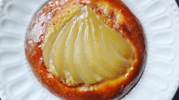 spiced poached pear brioche tart