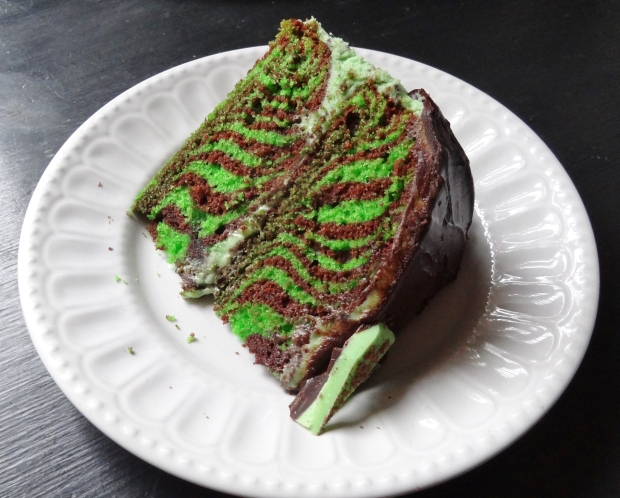 mint choc chip chocolate zebra cake