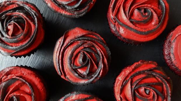 rose red velvet cupcakes