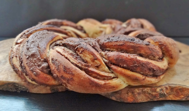 braided chocolate chestnut bread wreath