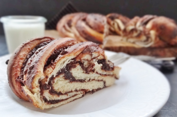 twisted chocolate chestnut bread wreath